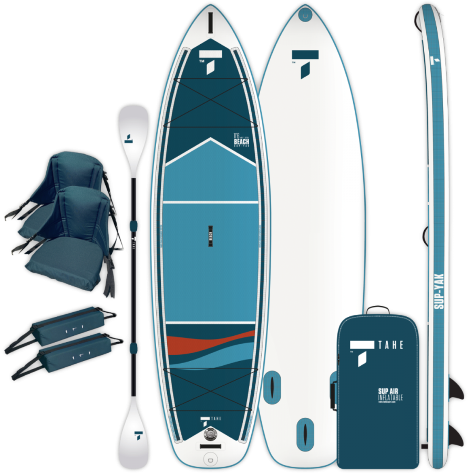 Tahe 11'6 Inflatable SUP/Kayak Beach Package