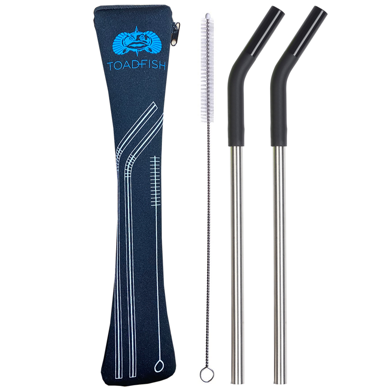 Toadfish 2 Pack Stainless Steel Straws w/ Case & Cleaner