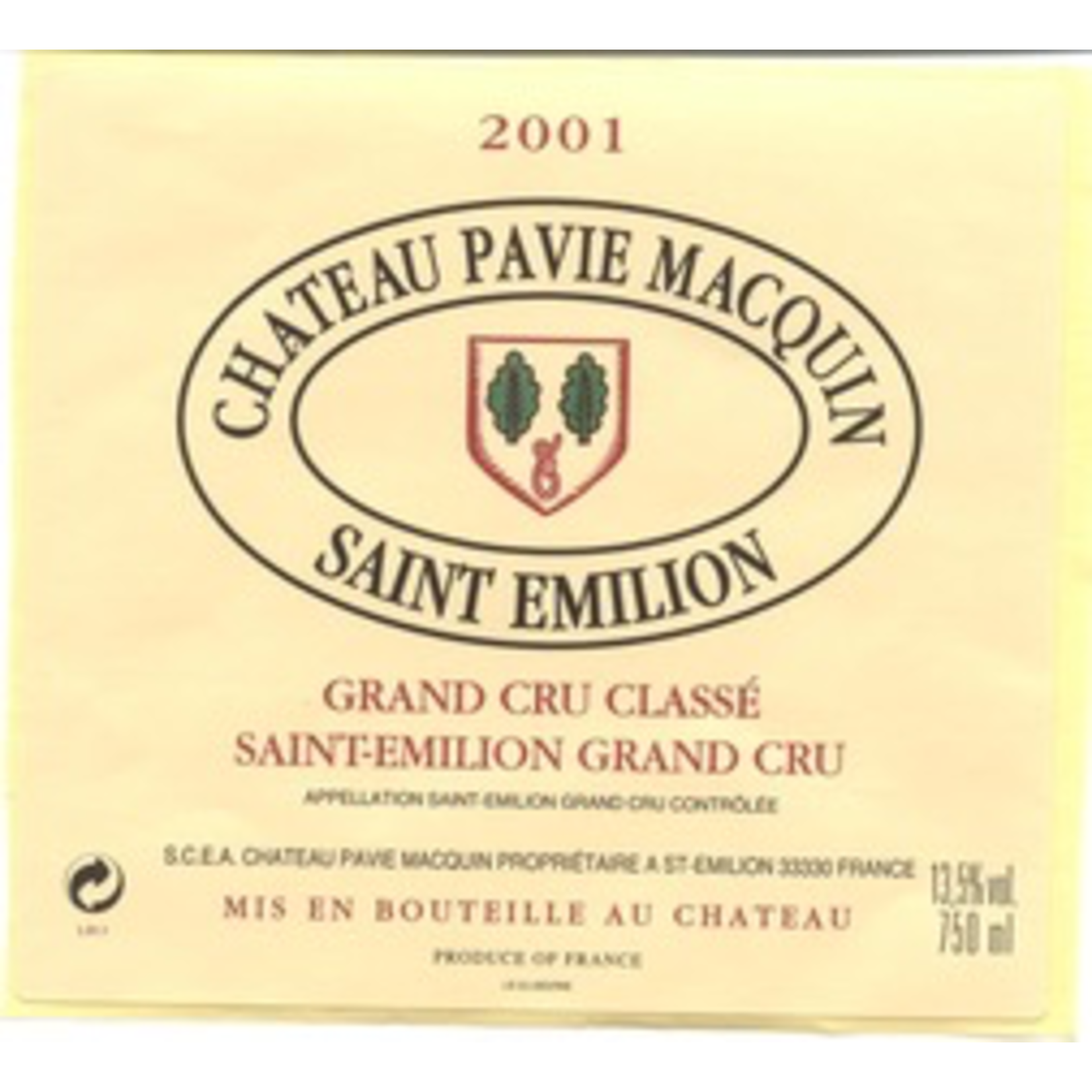 Wine Chateau Pavie-Macquin, Saint-Emilion Grand Cru Classe 2001