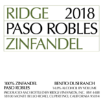 Ridge Vineyards Zinfandel Benito Dusi Ranch Paso Robles 2018