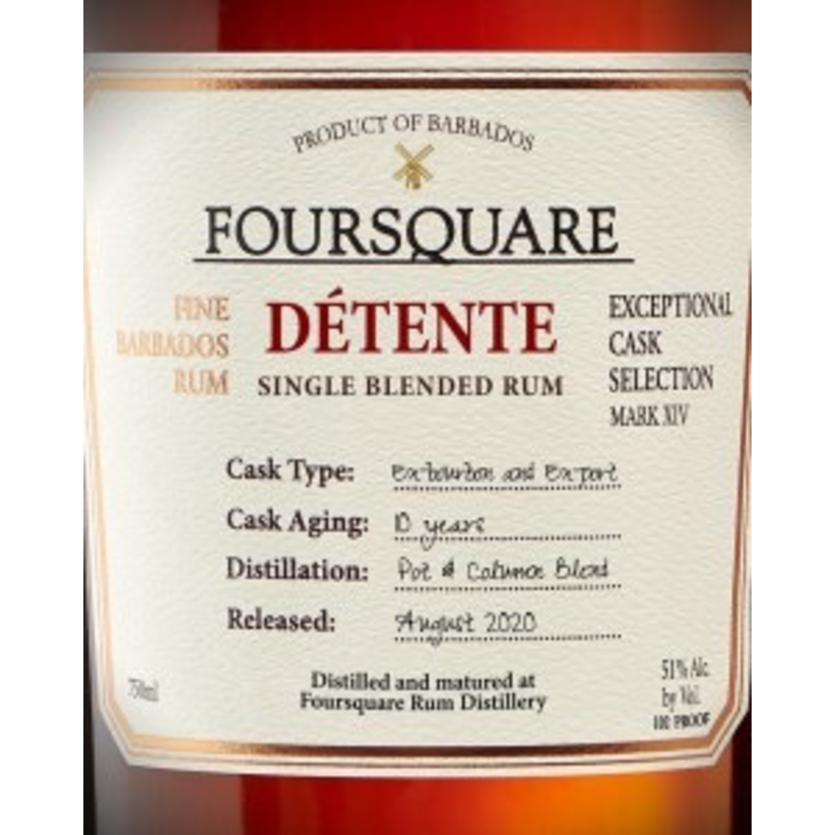 Spirits Foursquare Detente 10 Year Single Blended Rum