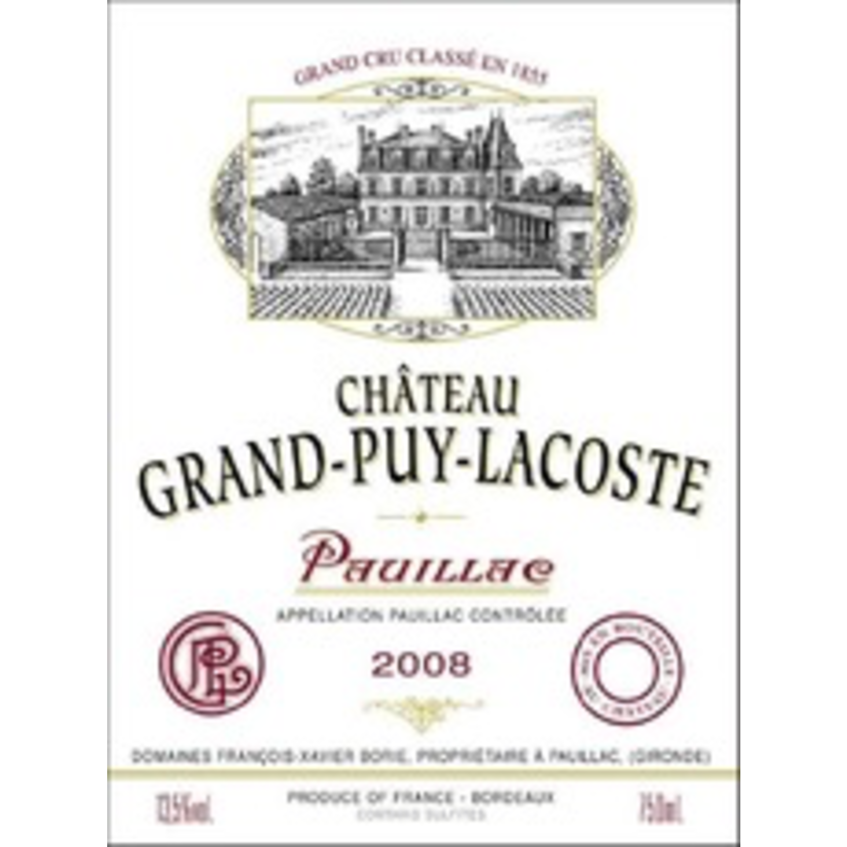 Wine Chateau Grand Puy Lacoste 2008