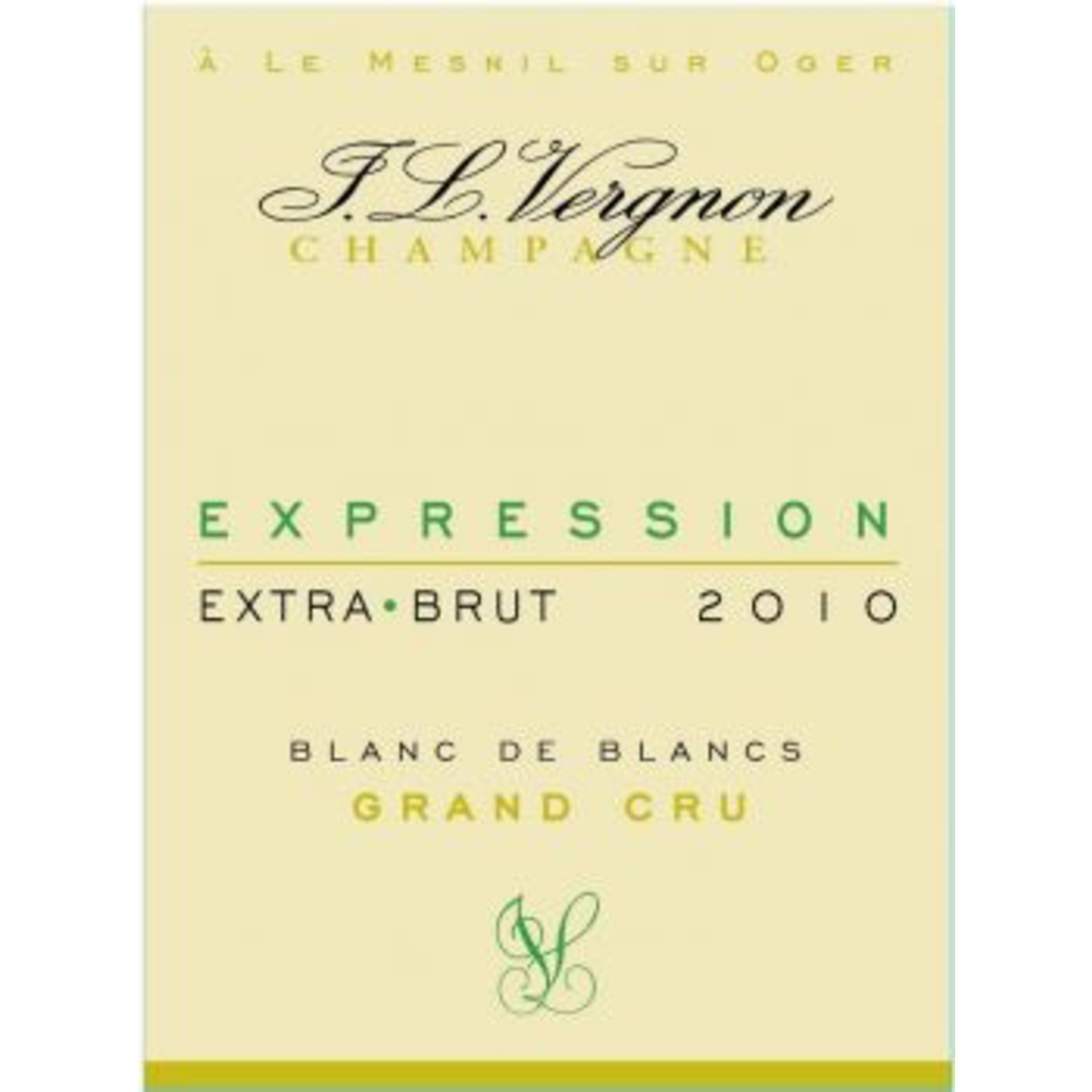 J L Vergnon Champagne Grand Cru Blanc de Blancs Extra Brut Expression 2010