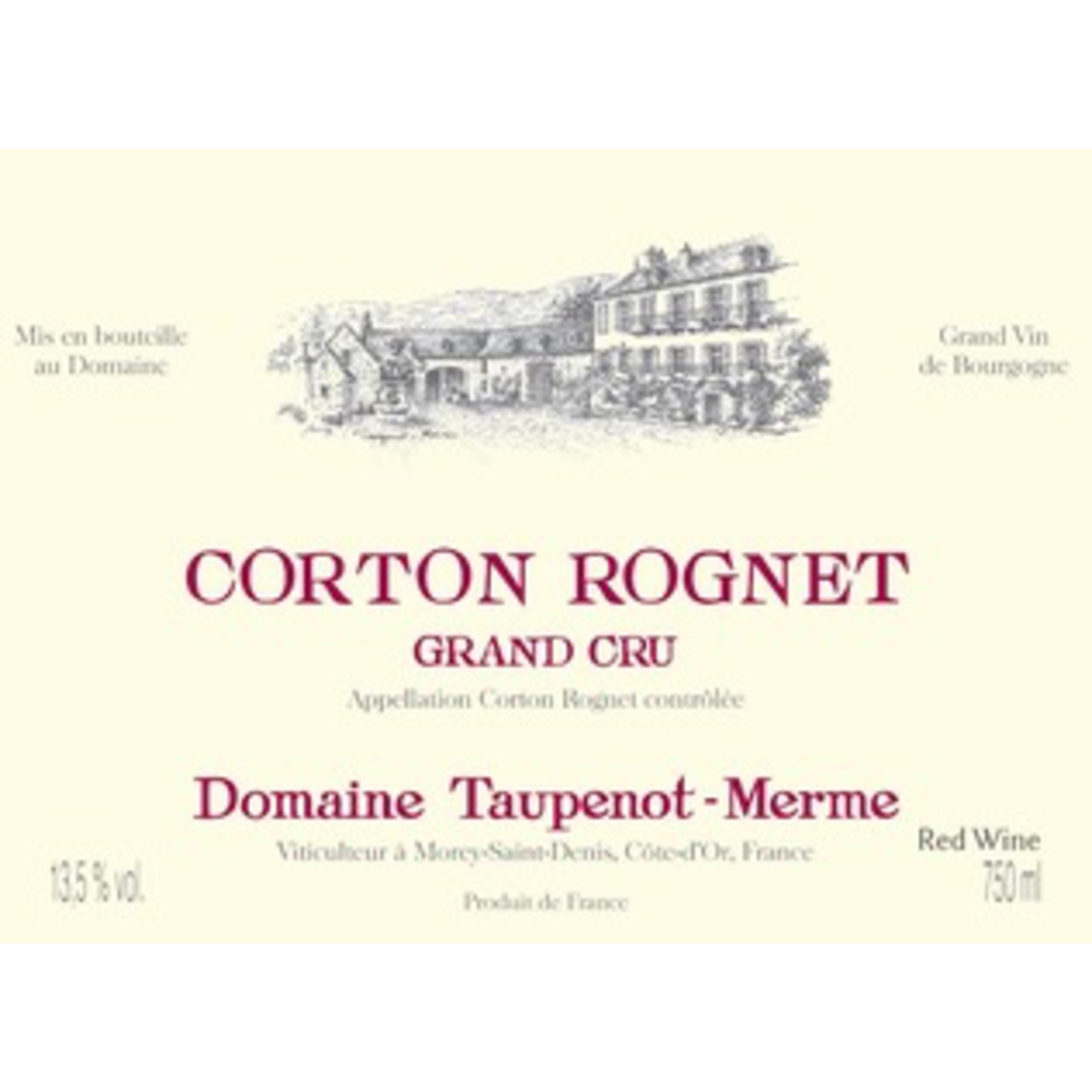 Wine Domaine Taupenot Merme Corton Rognet Grand Cru 2016