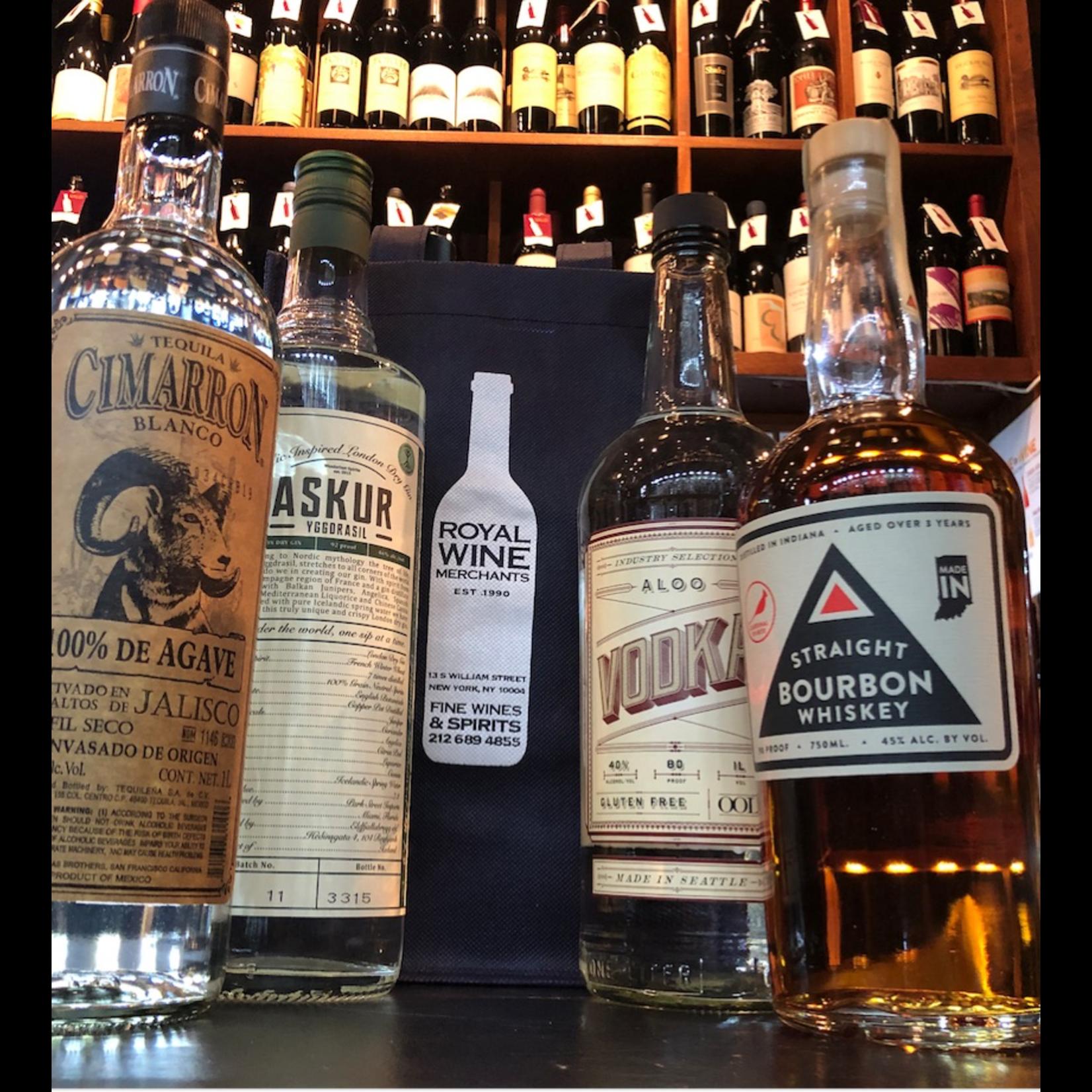 Spirits Bar Stocker Care Package one bottle each Vodka 1L, Gin 1L, Bourbon 1L, Tequila 1L