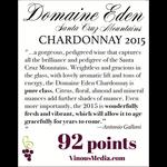 Wine Mount Eden Vineyards Chardonnay Domaine Eden 2015