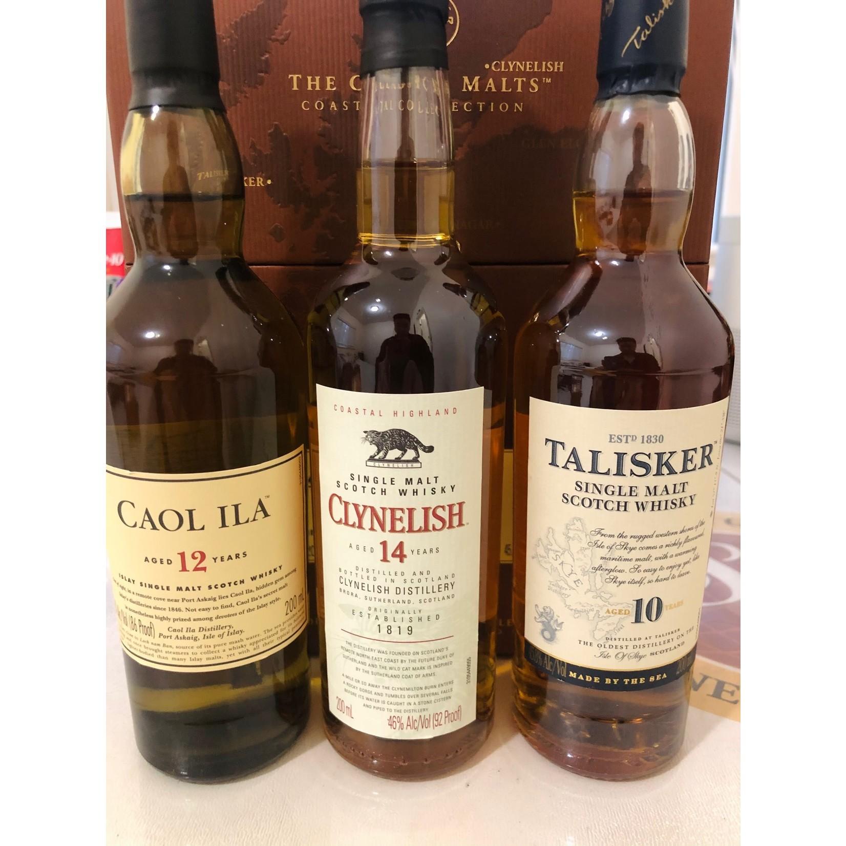 Spirits The Classic Malts Single Malt Scotch Coastal Collection Combo 1 each Talisker 10 Year, Caol Ila 12 Year, Clynelish 14 Year 200ml 3pack