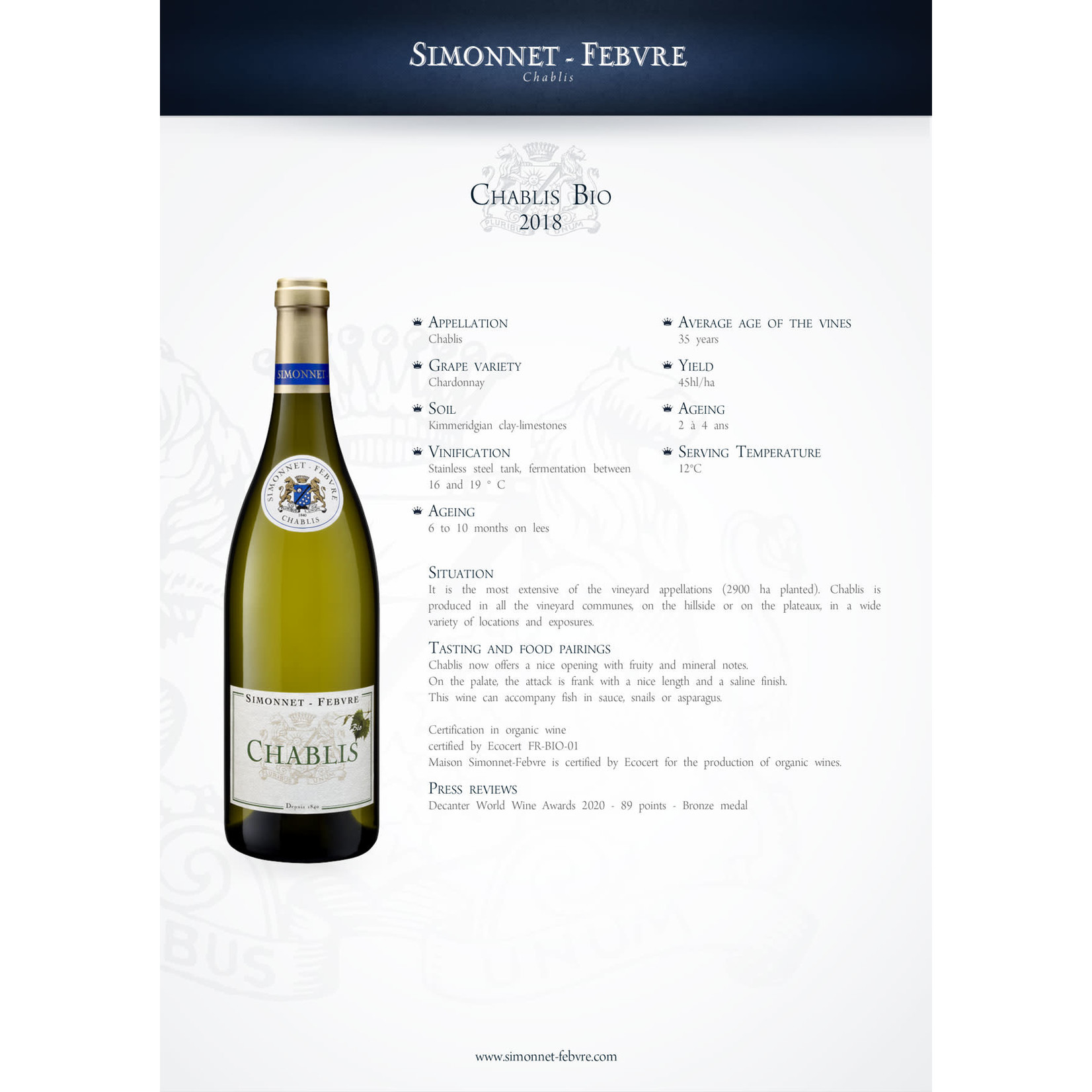 Wine Simonnet-Febvre Chablis 2018