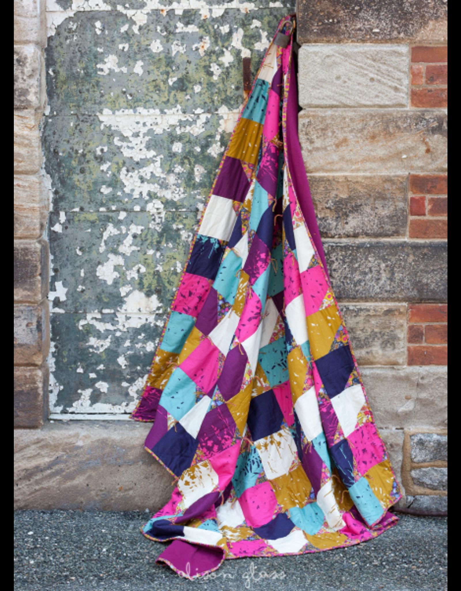 "Alison Glass Cotton Lawn, Adorn, Silhouette in Gold 54"", Fabric Half-Yards"