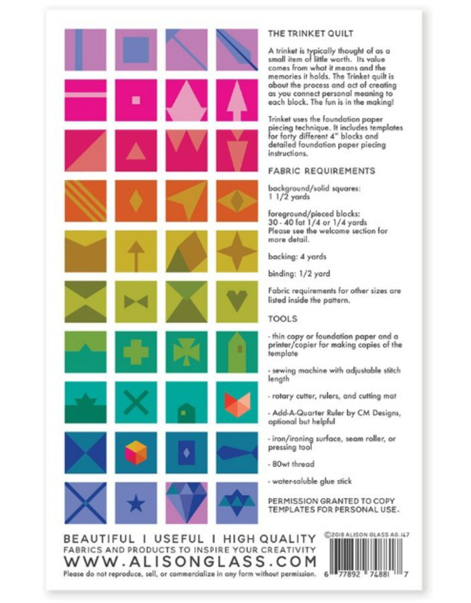 Alison Glass Trinket Quilt Pattern