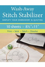 """PD Wash-Away Stitch Stabilizer, Pack of 10 sheets 8.5""""x11"""""""