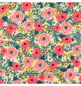 Robert Kaufman Laguna Lightweight Jersey Knit, Floral in Yellow, Fabric Half-Yards AHR-17399-5