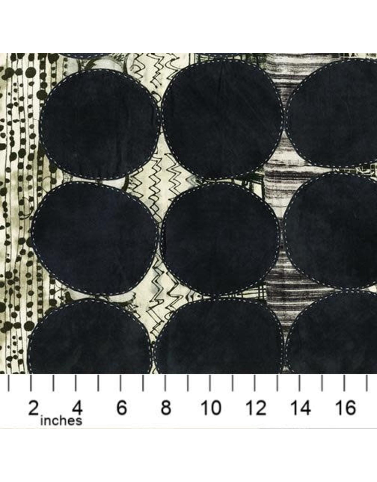 Marcia Derse ON SALE-Curiosity, Circle in Black, Fabric Half-Yards