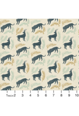 Cotton + Steel ON SALE-All Through the Land, Grassland in Slate with Metallic on Unbleached Cotton, Fabric Half-Yards