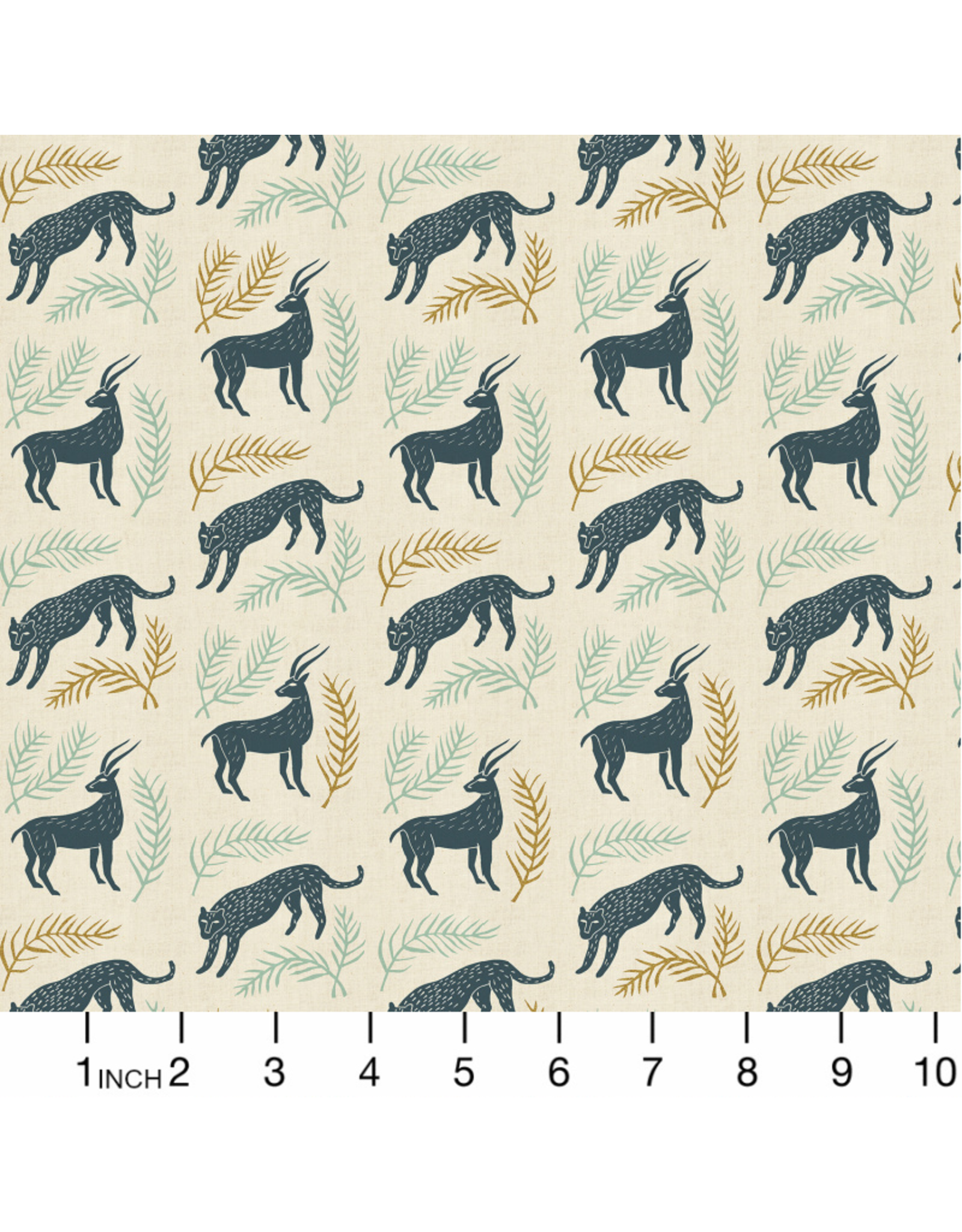 Cotton + Steel All Through the Land, Grassland in Slate with Metallic on Unbleached Cotton, Fabric Half-Yards AM100-SL1UM