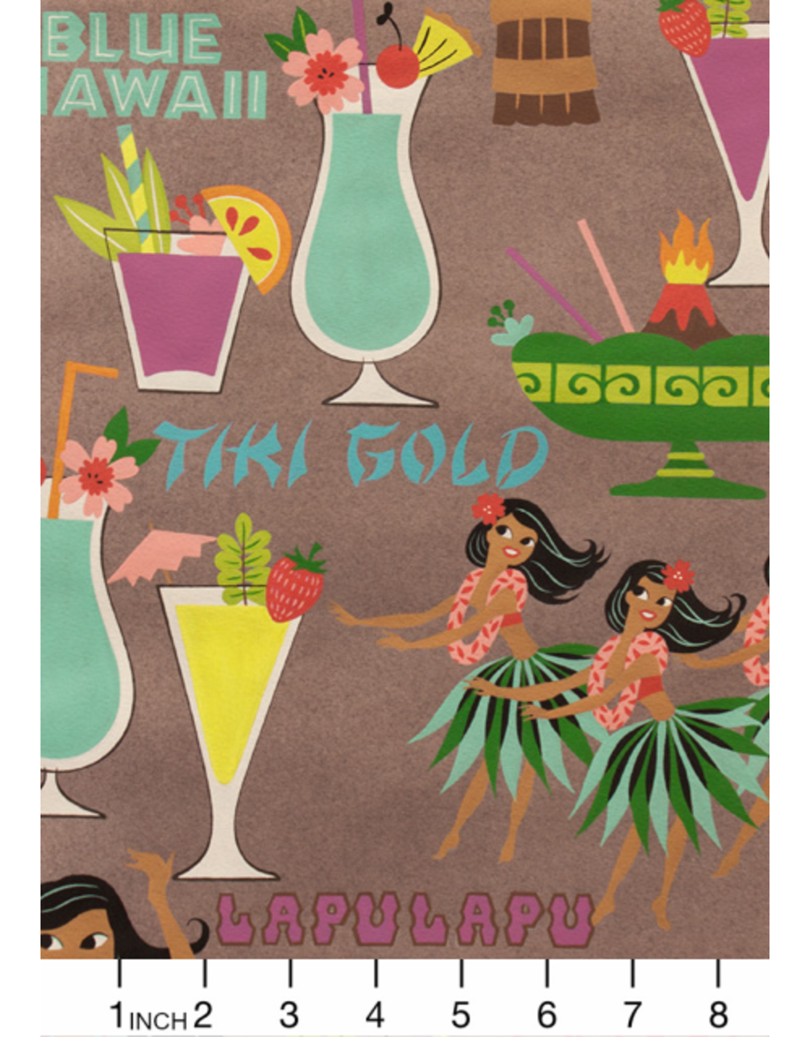 PD's Alexander Henry Collection Tiki Dreams, Rum Swizzle in Burlap, Dinner Napkin