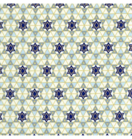 Alexander Henry Fabrics Hanukkah, Tiny Star of David with Gold Metallic, Fabric Half-Yards M5148