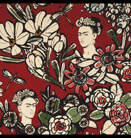 Alexander Henry Fabrics Folklorico, Cactus Flower Frida in Terra Cotta Red, Fabric Half-Yards 8359C