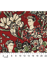 Alexander Henry Fabrics Folklorico, Cactus Flower Frida in Terra Cotta Red, Fabric Half-Yards 8359C