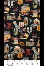 Alexander Henry Fabrics Nicole's Prints, Route 66 in Black, Fabric Half-Yards 1585 CR