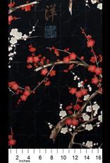 Alexander Henry Fabrics Indochine, Golden Garden in Black, Fabric Half-Yards 7614 CRR