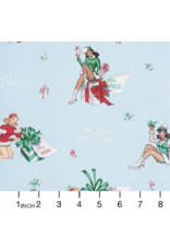Alexander Henry Fabrics Christmas Time, For You in Blue, Fabric Half-Yards