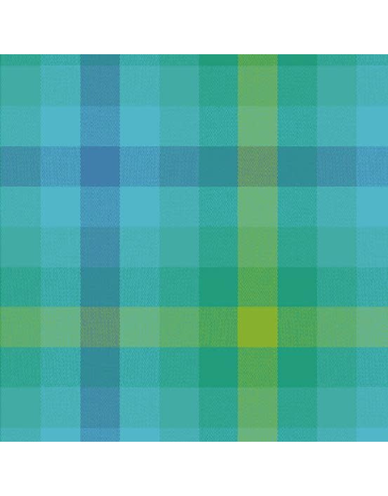 Alison Glass Kaleidoscope Stripes and Plaids, Plaid in Teal, Fabric Half-Yards WV-9541