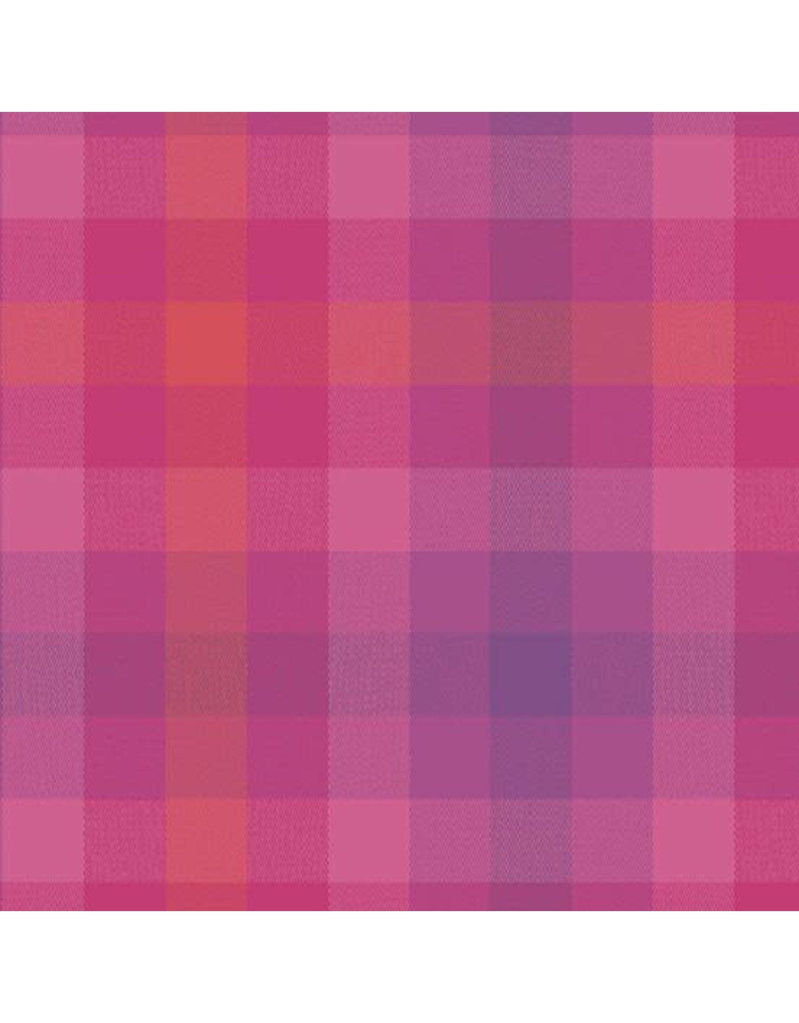 Alison Glass Kaleidoscope Stripes and Plaids, Plaid in Magenta, Fabric Half-Yards