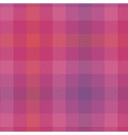 Alison Glass Kaleidoscope Stripes and Plaids, Plaid in Magenta, Fabric Half-Yards