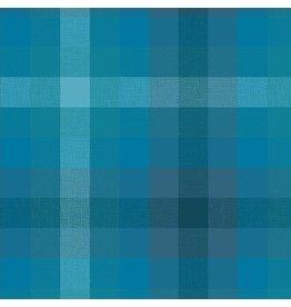 Alison Glass Kaleidoscope Stripes and Plaids, Plaid in Denim, Fabric Half-Yards