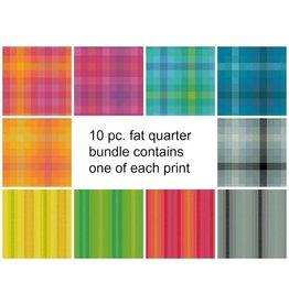 Picking Daisies Kaleidoscope Stripes & Plaids, Fat Quarter Bundle containing 10 pcs.