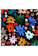 The Paper Curator Ink Unleashed, Wild Daisy in Black, Fabric Half-Yards DC9317