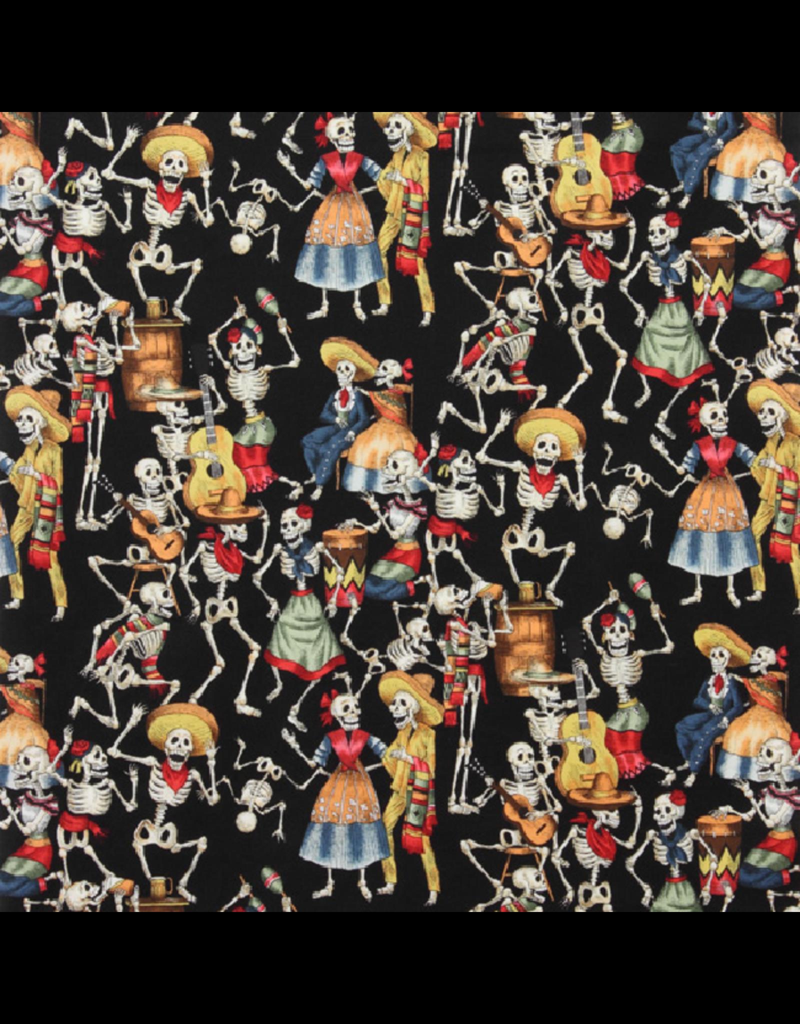 Alexander Henry Fabrics Folklorico, Fiesta de los Muertos in Black, Fabric Half-Yards 45BR