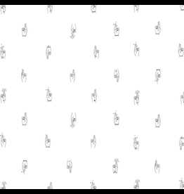 Figo ON SALE-Lucky Charms, Fingers Crossed in White, Fabric Half-Yards 92001-10