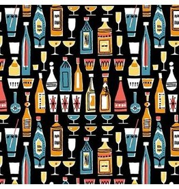 Michael Miller Kitschy Cocktails, Mothers Little Helper in Black, Fabric Half-Yards CX8714