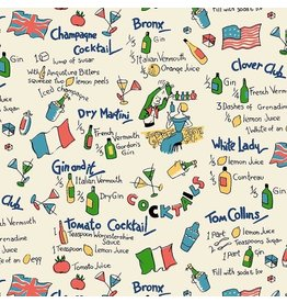 Michael Miller Kitschy Cocktails, Dry Martini in Cream, Fabric Half-Yards CX8716