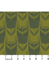 Sarah Golden ON SALE-Perennial, Patchwork Tulips in Olive, Fabric Half-Yards  A-9567-CG