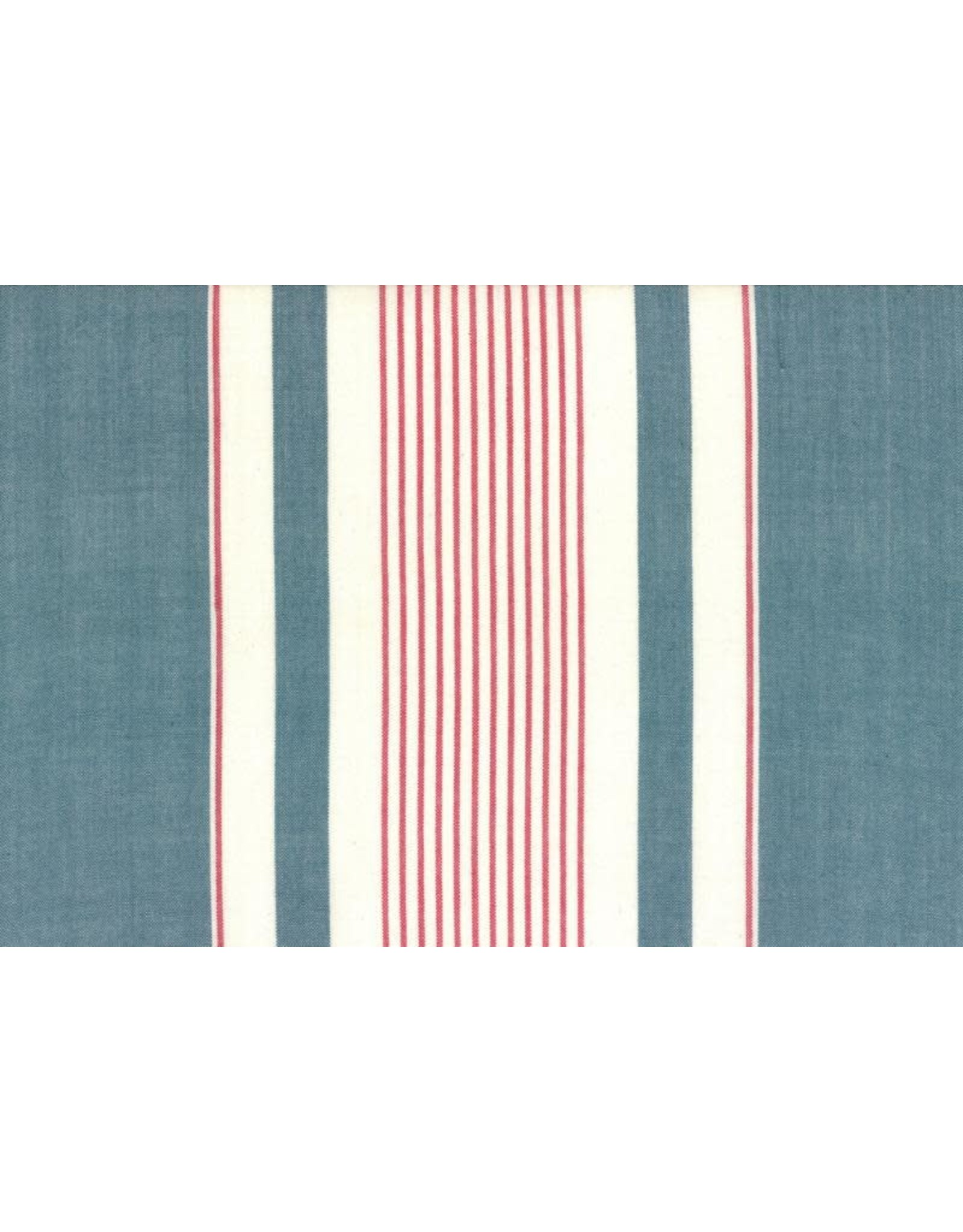 """Moda Woven Toweling, 16"""", Picnic Point Tea in Blue with Red and White Stripes  992 239, Sold by the Yard"""
