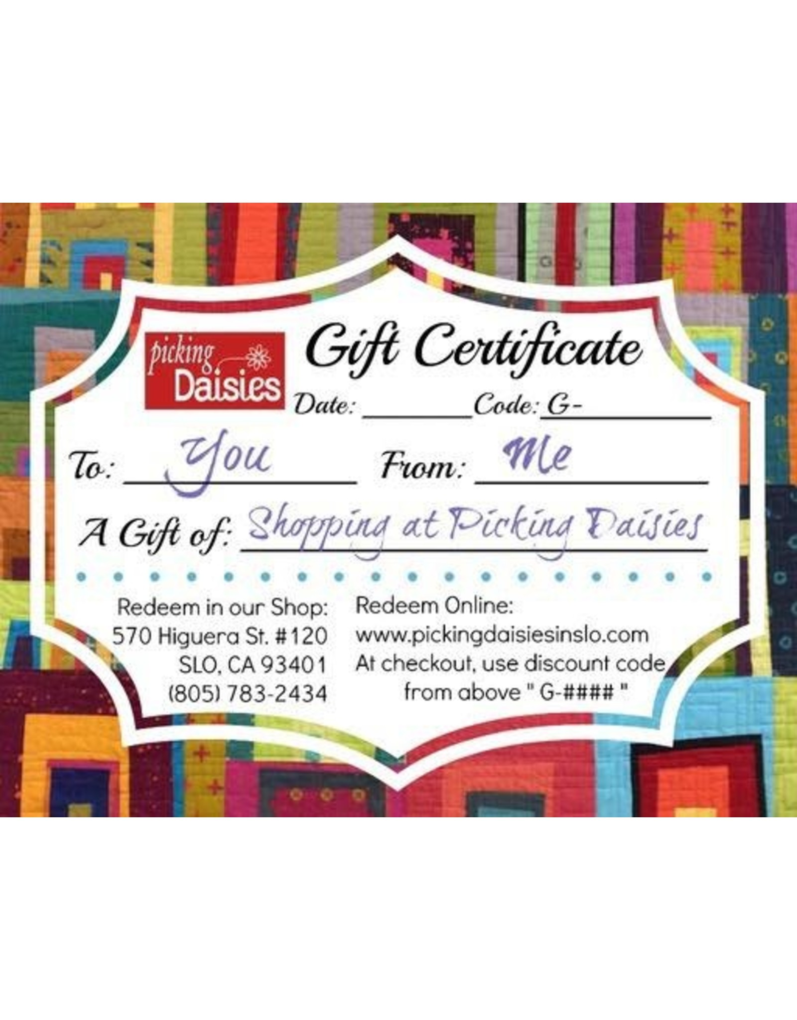 PD Gift Certificate - $25