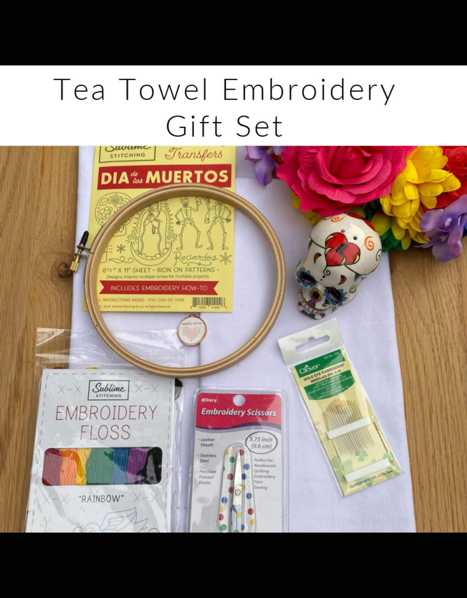 Picking Daisies Embroidery Kit, Tea Towel Gift Set, Dia de los Muertos with Rainbow Floss