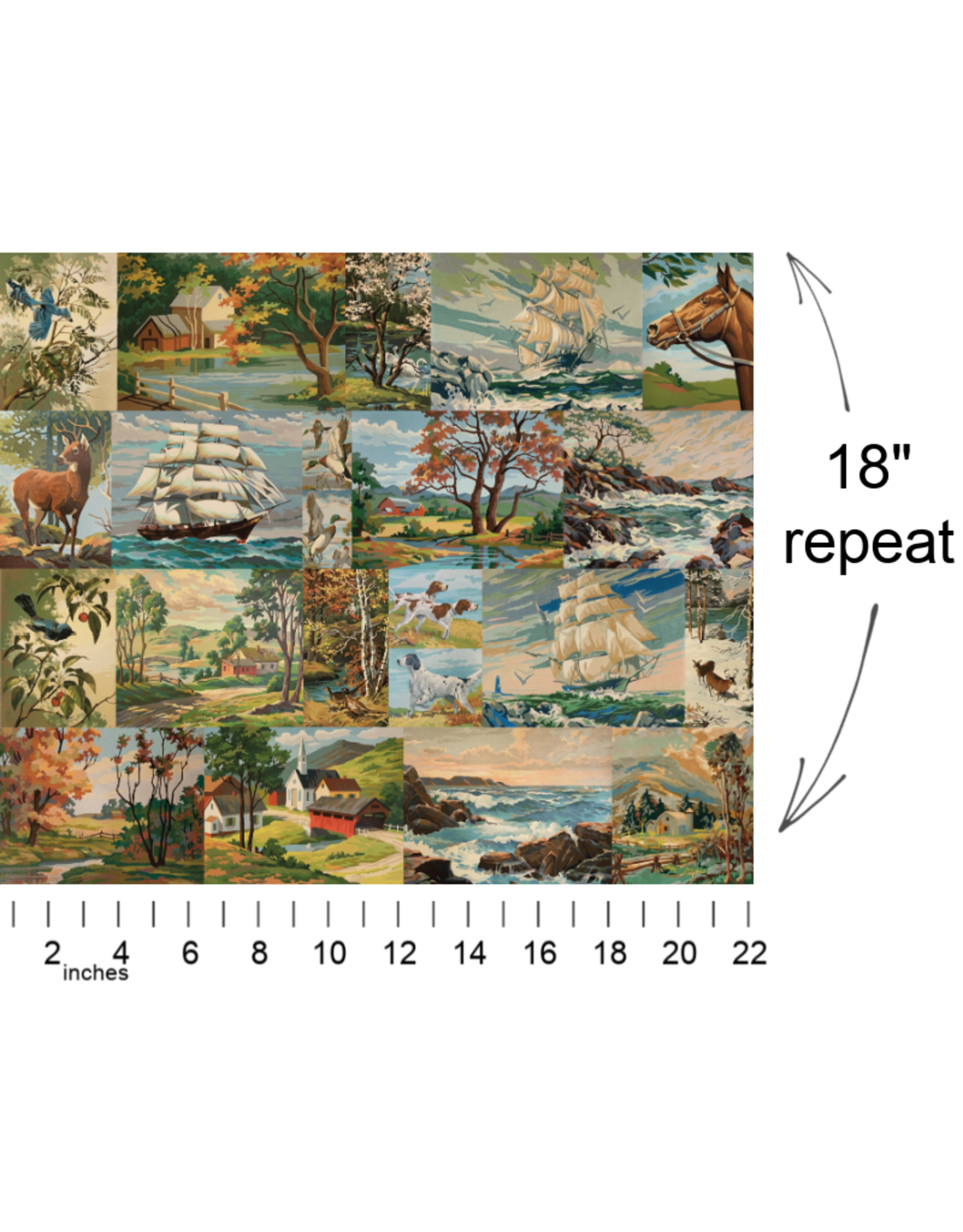 Moda Flea Market Moxie, Paint by Numbers in Multi, Fabric Half-Yards 7360 11D