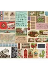 Moda Flea Market Moxie, Ephemera Flat Lay Mix in Parchment, Fabric Half-Yards 7350 11D