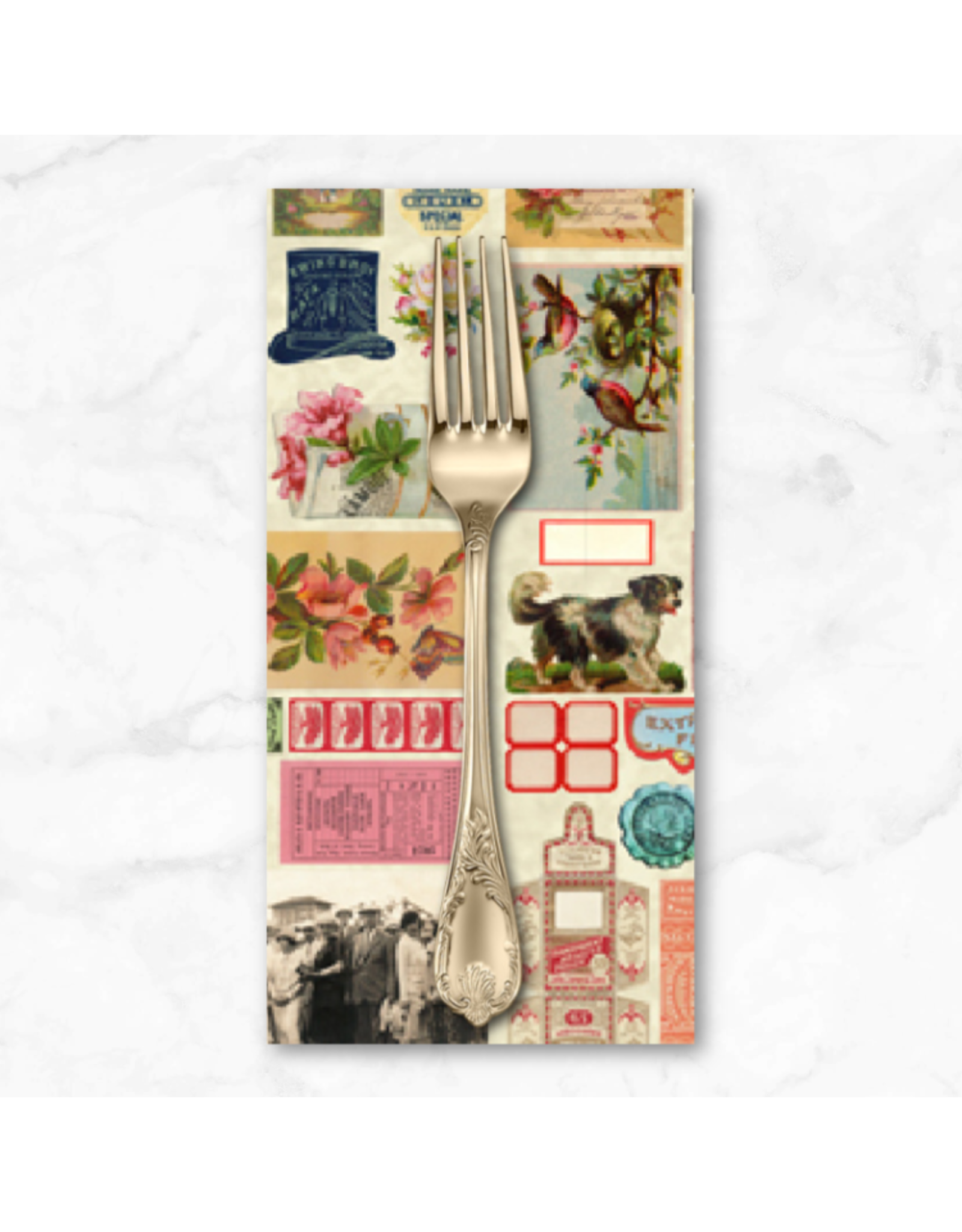 PD's Moda Collection Flea Market Moxie, Ephemera Flat Lay Mix in Parchment, Dinner Napkin