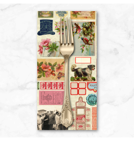 PD's Moda Collection Flea Market Moxie, Ephemera Flat Lay Mix in Parchment, Dinner Napkin