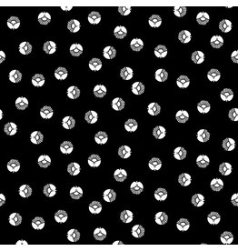 Cotton + Steel Full Moon, Along the Fields, Circle Flower in Space Black, Fabric Half-Yards LV304-SB4