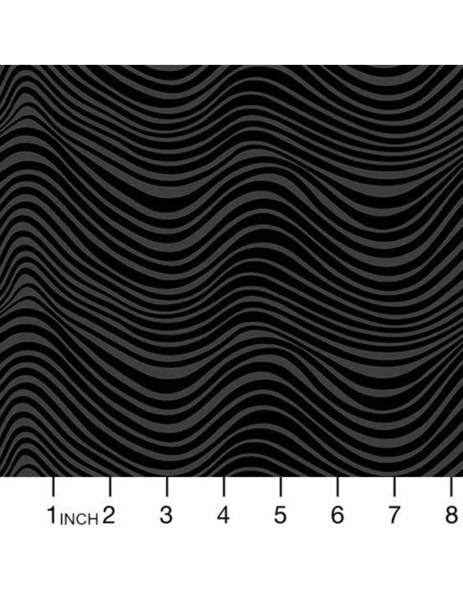 Libs Elliott Stealth, Waves in Coal, Fabric Half-Yards A-9662-K