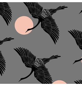Sarah Watts Ruby Star Society, Florida, Egrets in Slate Gray, Fabric Half-Yards RS2023 13