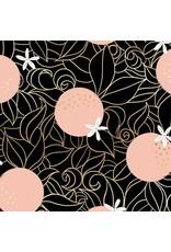 Sarah Watts Ruby Star Society, Florida, Orange Blossoms in Black with Metallic, Fabric Half-Yards RS2025 15M