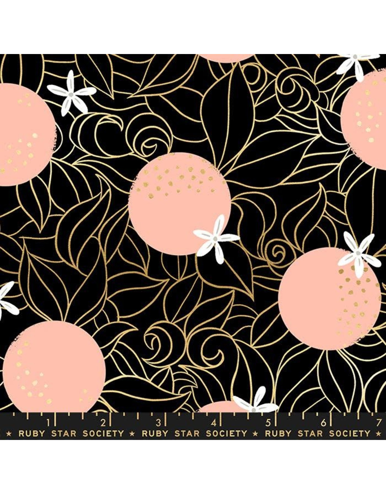 PD's Ruby Star Society Collection Ruby Star Society, Florida, Orange Blossoms in Black with Metallic, Dinner Napkin
