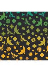 Alison Glass Art Theory, Seventy Six Bird & Bee in Night, Fabric Half-Yards A-9699-C